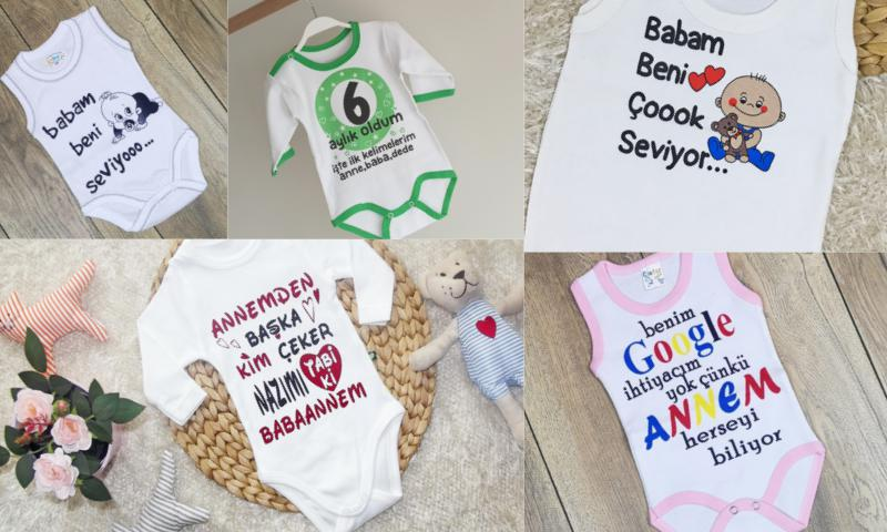 Yazılı Bebek Kıyafetleri Çok Sevimli